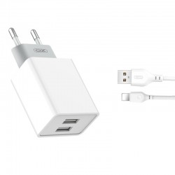 XO WALL CHARGER L65 WHITE PLUS CABLE LIGHTNING 2USB 2,4A