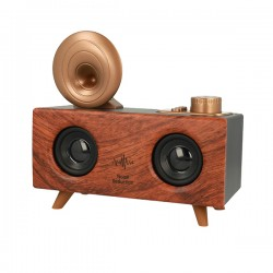B6 Portable Speaker Retro Gramophone with Bluetooth and Radio DARK BROWN