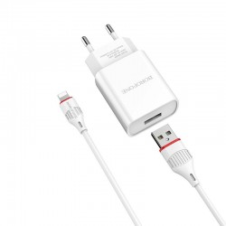 BOROFONE WALL CHARGER BA20A SHARP 1xUSB 2,1A WITH LIGHTNING CABLE WHITE