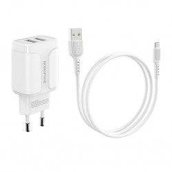BOROFONE - BA37A SPEEDY TRAVEL CHARGER DUAL USB 5V/2,4A SET microUSB WHITE
