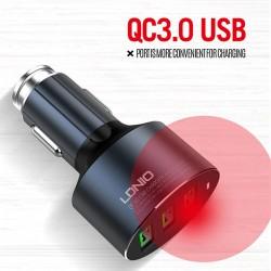 LDNIO C703Q CAR CHARGER 3xUSB 3.6A QC 3.0 + MICRO USB CABLE