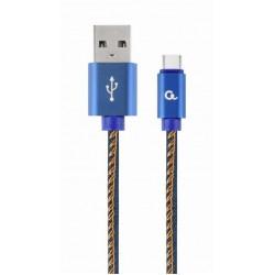 GEMBIRD Premium τζιν (denim) Καλώδιο USB τύπου C με μεταλλικούς συνδετήρες, 1 m, μπλε / CC-USB2J-AMCM-1M-BL