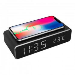 GEMBIRD DIGITAL ALARM CLOCK WITH WIRELESS CHARGING FUNCTION BLACK