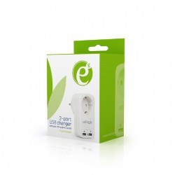 GEMBIRD/ENERGENIE - EG-ACU2-01-W / PROTECTOR 2-PORT USB CHARGER WITH PASS-THROUGH AC SOCKET 2.1A WHITE