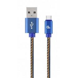 GEMBIRD PREMIUM ΤΖΙΝ (DENIM) ΚΑΛΩΔΙΟ USB TYPE C ΜΕ ΜΕΤΑΛΛΙΚΕΣ ΥΠΟΔΟΧΕΣ 2Μ  ΜΠΛΕ / CC-USB2J-AMCM-2M-BL