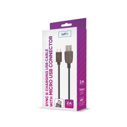 SETTY USB CABLE 1M 2A MICROUSB BLACK