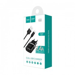 HOCO C12 WALL CHARGER SMART 2xUSB 2,4A WITH MICRO USB CABLE BLACK