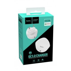 HOCO C68A QC3.0 CHARGER SHELL SINGLE USB 18W WHITE