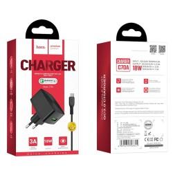 HOCO C70A CUTTING-EDGE SINGLE PORT QC3.0 CHARGER SET  MICRO USB BLACK