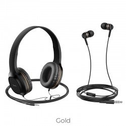 HOCO HEADPHONES W24 ENLIGHTEN HEADPHONES WITH MIC SET GOLD
