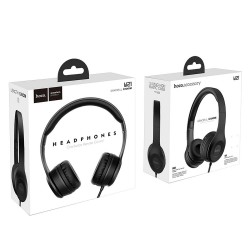 HOCO W21 HEADPHONES GRACEFUL CHARM WIRE CONTROL BLACK