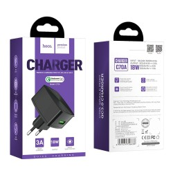 HOCO C70A TRAVEL CHARGER  QC3.0 CUTTING EDGE SINGLE PORT BLACK