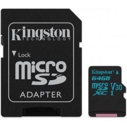 KINGSTON SDCG2/64GB CANVAS GO 64GB MICRO SDXC CLASS 10 UHS-I U3 V30 + SD ADAPTER