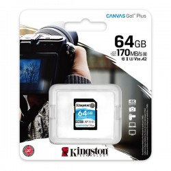 KINGSTON SDG3/64GB CANVAS GO PLUS 64GB SDXC 170R CLASS 10 UHS-I U3 V30