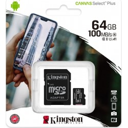 KINGSTON CANVAS SELECT PLUS MICRO SDXC 64GB U1 V10 A1 WITH ADAPTOR