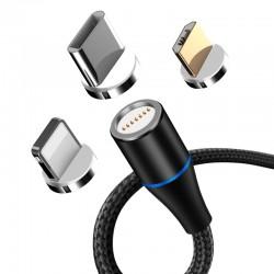 MAXLIFE MXUC-03 magnetic cable USB - Lightning + USB-C + microUSB 3A black Fast Charge QC3.0