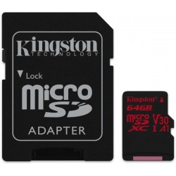 KINGSTON SDCR/64GB CANVAS REACT 64GB MICRO SDXC CLASS 10 U3 V30 A1 + ADAPTER