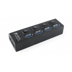 GEMBIRD USB 3.0 4-port hub, 4 switches 4 LEDs; black color, 3A power adapter