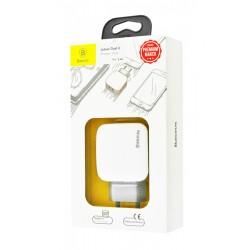 BASEUS WALL CHARGER LETOUR  2 x USB WHITE GREY