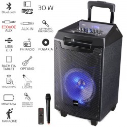 Akai ABTS-AW8 Φορητό Bluetooth karaoke party speaker με LED, ασύρματο μικρόφωνο και υποδοχή για μικρόφωνο και όργανο – 30 W RMS