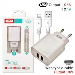 XO L67 EU 18W QC3.0+1A 2xUSB TYPE-C